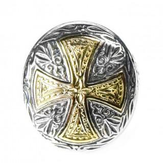 Gerochristo 2534 ~ Solid 18K Gold & Silver Medieval Byzantine Cross Ring