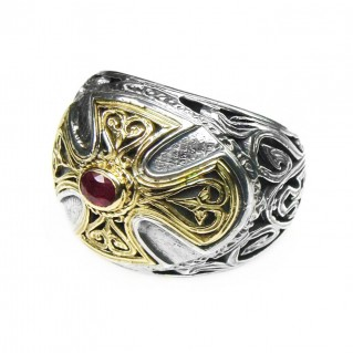 Gerochristo 2535 ~ Solid Gold, Silver & Ruby - Medieval Byzantine Cross Ring