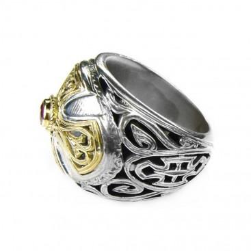 Gerochristo 2535 ~ Solid Gold, Silver & Ruby - Medieval Byzantine Cross Ring