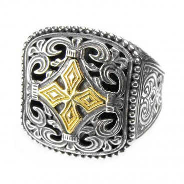 Gerochristo 2540 ~ Solid 18K Gold & Sterling Silver Medieval Cross Ring