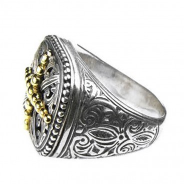 Gerochristo 2541 ~ Solid 18K Gold & Sterling Silver Medieval Cross Ring