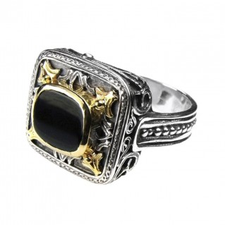 Gerochristo 2543 ~ Solid Gold and Sterling Silver - Medieval Byzantine Single Stone Ring