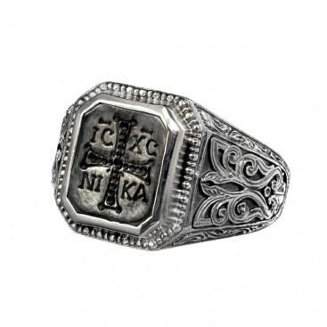 Gerochristo 2553N ~ Sterling Silver and Bronze Byzantine Chevalier Conqueror's Cross Ring