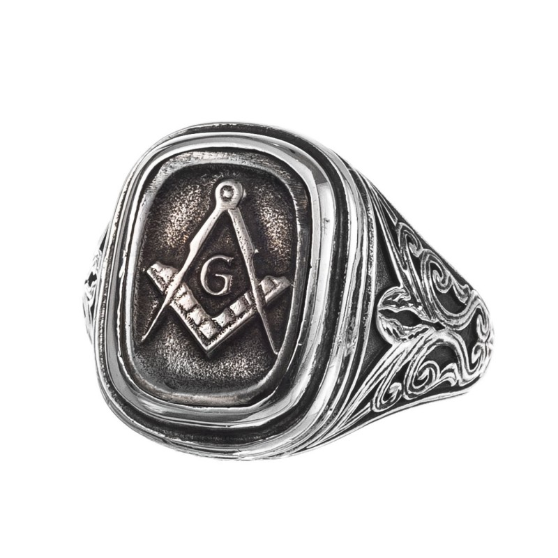 be0fe7a6cda10 Gerochristo 2555N ~ Sterling Silver and Bronze Masonic Signet Ring