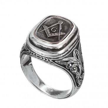 Gerochristo 2555N ~ Sterling Silver and Bronze Masonic Signet Ring