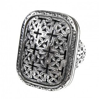 Gerochristo 2561 ~ Sterling Silver Medieval-Byzantine Large Cross Ring