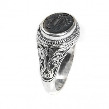 Gerochristo 2561N ~ Sterling Silver and Bronze Ancient Trireme Ship Signet Ring