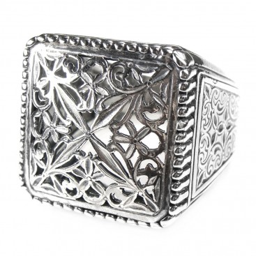 Gerochristo 2565 ~ Sterling Silver Medieval Byzantine Large Filigree Ring