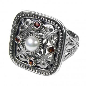 Gerochristo 2566 ~ Sterling Silver Multi-Stone Medieval-Byzantine Ring