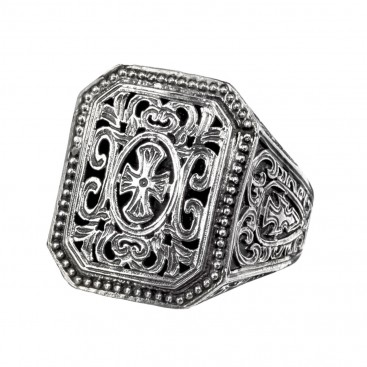 Gerochristo 2566N ~ Sterling Silver Medieval Maltese Filigree Cross Ring