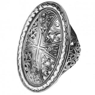Gerochristo 2569 ~ Sterling Silver - Medieval Byzantine Cross Ring
