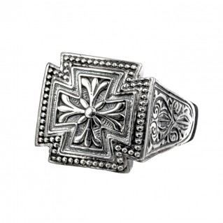 Gerochristo 2569N ~ Sterling Silver Medieval Maltese Cross Ring