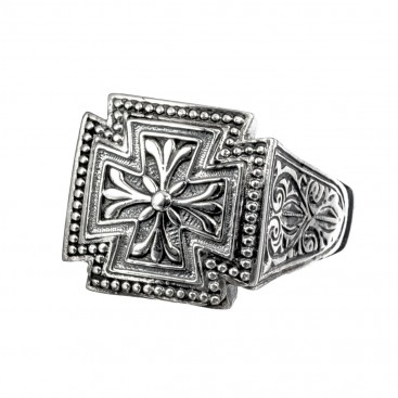 Gerochristo 2569N ~ Sterling Silver Medieval Maltese Cross Ring