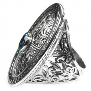 Gerochristo 2571 ~ Sterling Silver & Zircon - Medieval Byzantine Cross Ring