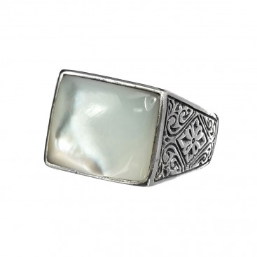 Gerochristo 2575N ~ Sterling Silver & MOP - Medieval Byzantine Band Ring