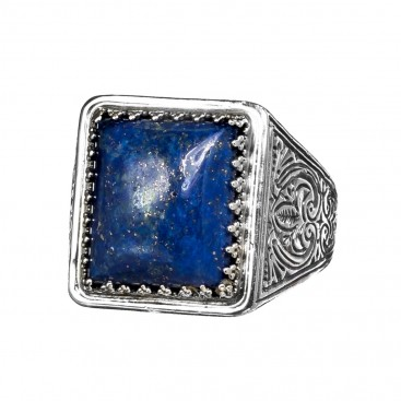 Gerochristo 2576N ~ Sterling Silver & Lapis Lazuli Medieval Chevalier Ring
