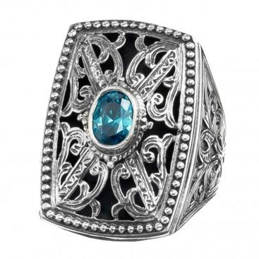 Gerochristo 2580N ~ Sterling Silver & Zircon Medieval-Byzantine Cocktail Ring