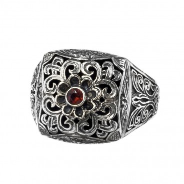 Gerochristo 2581N ~ Sterling Silver Medieval-Byzantine Single Stone Chevalier Ring