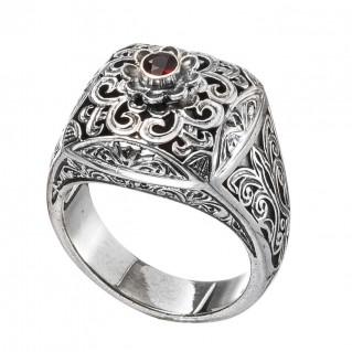 Gerochristo 2581N ~ Sterling Silver Medieval-Byzantine Single Stone Chevalier Ring