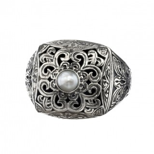 Gerochristo 2582N ~ Sterling Silver Medieval-Byzantine Single Stone Chevalier Ring