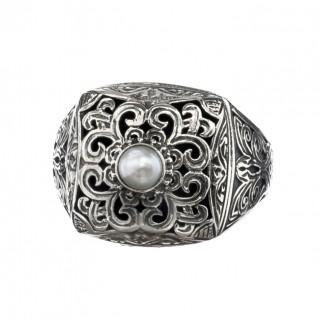 Gerochristo 2582N ~ Sterling Silver Medieval-Byzantine Single Stone Chevalier Ring