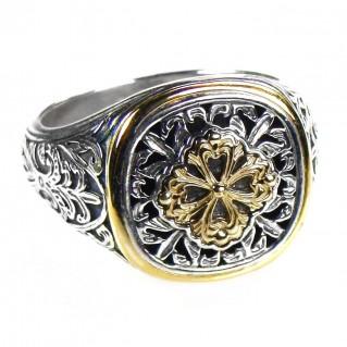 Gerochristo 2593 ~ Solid Gold & Silver Medieval Byzantine Ornate Ring