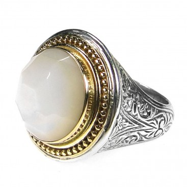 Gerochristo 2595 ~ Solid Gold and Silver Large Round Single-Stone Medieval Ring