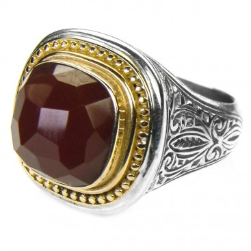 Gerochristo 2596 ~ Solid Gold & Silver Large Single-Stone Square Medieval Ring