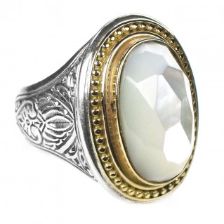Gerochristo 2600 ~ Solid Gold & Silver Large Single-Stone Oval Medieval Ring