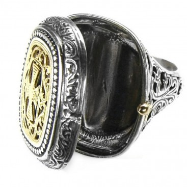 Gerochristo 2601 ~ Solid 18K Gold & Silver Medieval Byzantine Poison Ring