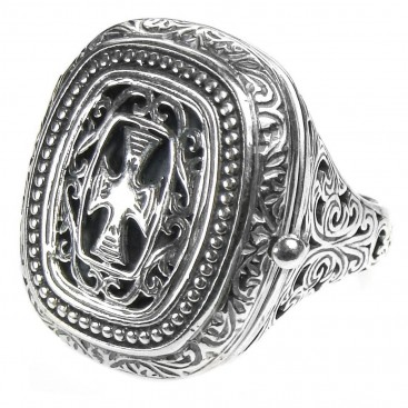 Gerochristo 2602 ~Sterling Silver Medieval Byzantine Cross Poison Ring