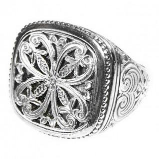 Gerochristo 2604 ~ Sterling Silver Medieval Byzantine Large Filigree Ring