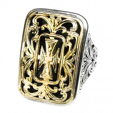 Gerochristo 2606 ~ Solid Gold & Sterling Silver Large Cross Ring