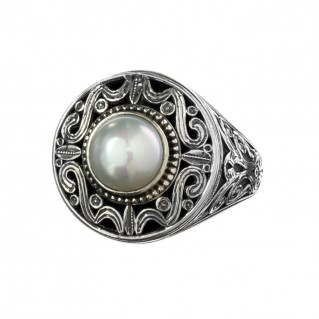Gerochristo 2615N ~ Sterling Silver Single Stone Medieval-Byzantine Cocktail Ring
