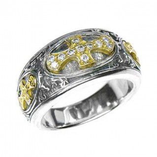 Gerochristo 2619 ~ Solid Gold, Silver & Diamonds Medieval-Byzantine Cross Ring