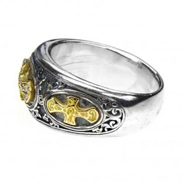 Gerochristo 2619 ~ Solid Gold, Silver & Diamonds Medieval-Byzantine Cross Ring