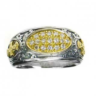 Gerochristo 2620 ~ Solid Gold, Silver & Diamonds Medieval-Byzantine Cross Ring
