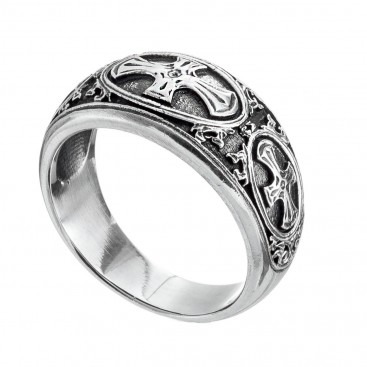 Gerochristo 2621 ~ Sterling Silver Medieval Crosses Band Ring