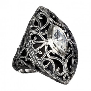 Gerochristo 2621N ~ Sterling Silver & Stone Medieval-Byzantine Cocktail Ring