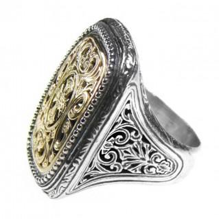 Gerochristo 2622 ~ Solid Gold & Sterling Silver Medieval-Byzantine Cross Ring