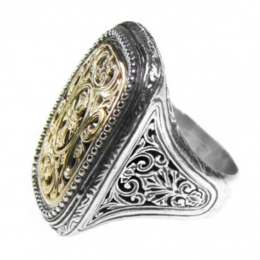Gerochristo 2622 ~ Solid Gold & Sterling Silver Medieval-Byzantine Cross Ring