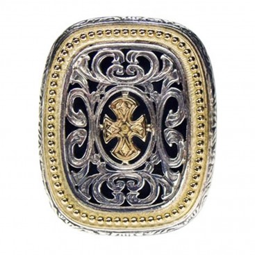 Gerochristo 2625 ~ Maltese Cross ~ Solid 18K Gold & Sterling Silver Medieval Ring