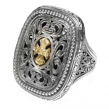 Gerochristo 2626 ~ Solid Gold & Sterling Silver Medieval-Byzantine Cross Ring