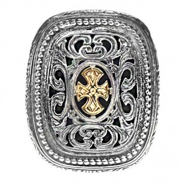 Gerochristo 2626 ~ Solid Gold & Sterling Silver Medieval-Byzantine Cross Ring