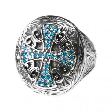 Gerochristo 2625N ~ Sterling Silver & Zircon - Medieval Byzantine Cross Ring