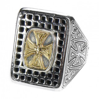 Gerochristo 2638 ~ Solid 18K Gold & Sterling Silver Medieval Cross Ring