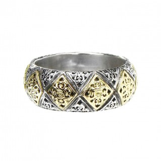 Gerochristo 2639 ~ Solid Gold & Sterling Silver Medieval-Byzantine Band Ring