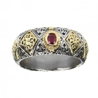 Gerochristo 2640 ~ Solid 18K Gold & Sterling Silver Medieval-Byzantine Band Ring