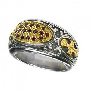 Gerochristo 2660 ~ Solid Gold, Silver & Rubies Medieval-Byzantine Cross Ring