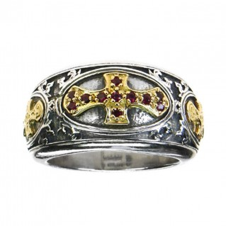 Gerochristo 2661 ~ Solid 18K Gold, Sterling Silver & Rubies Medieval-Byzantine Cross Ring